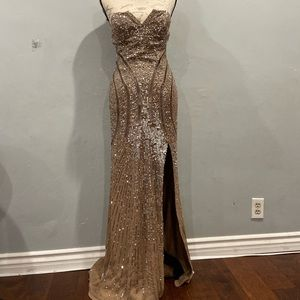 Sequins light brown , evening gown.